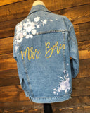 Custom White Floral Women's Relaxed Fit Denim Jacket