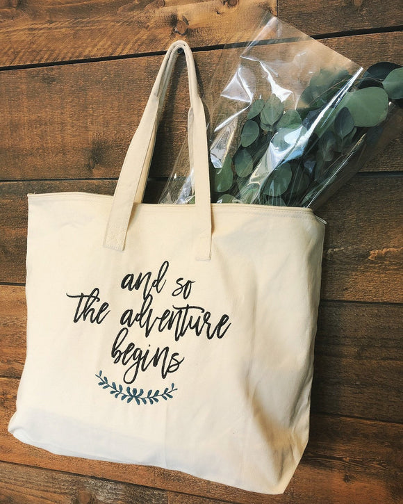 Adventure Begins Weekender Zippered Tote Bag