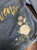 Custom Ivory Peony Floral Women's Relaxed Fit Denim Jacket