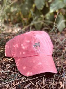 Palm Tree Coral Pink Tropical Dad Hat