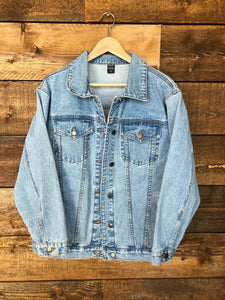 denim + thread 100% cotton women's light washed relaxed fit denim jacket