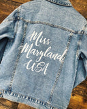 Custom Text Women's Relaxed Fit Denim Jacket