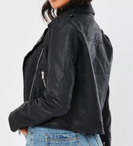 DESIGN DEPOSIT for 1 Custom Women's BOXY FIT Black Faux Leather Jacket