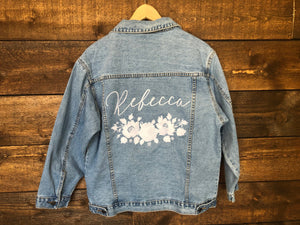 Custom White Floral Wreath Women's Relaxed Fit Denim Jacket