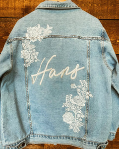 White Lace Women's Relaxed Fit Denim Jacket