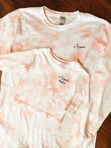 Toddler/ Kids Hand Dyed Pink Tie Dye Long Sleeve T Shirt With Personalized Text