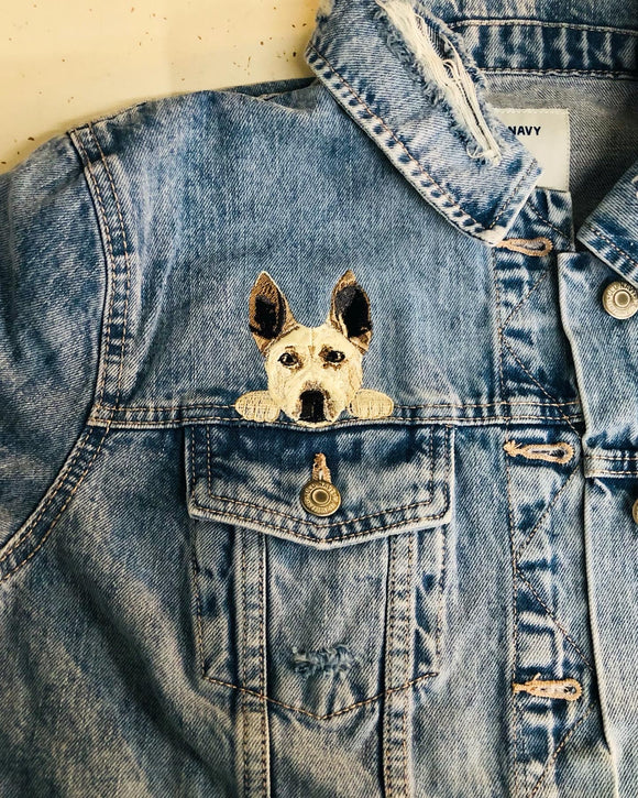 Your Pet Over Pocket Fitted Denim Jacket