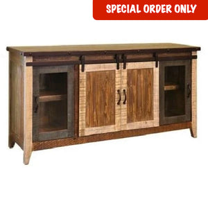 "70"" Multicolor Barn Door TV Stand"