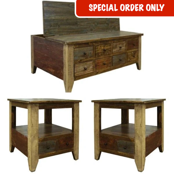 Antique Multi-Drawer Coffee Table Set