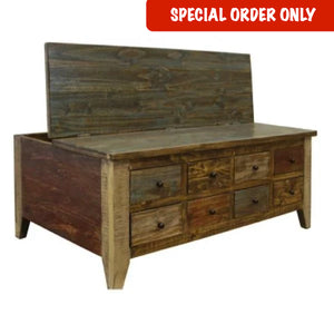 Antique Multi-Drawer Coffee Table