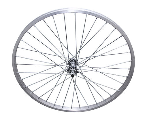 24 36/SPOKE TRIKE ALLOY FRONT WHEEL 14G UCP 3/8 AXLE SINGLE WALL SILVER