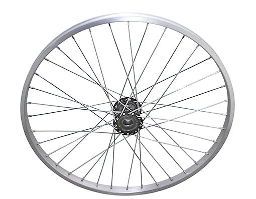 24 36/SPOKE TRIKE ALLOY HOLLOW-HUB G/RIGHT WHEEL 12G UCP BEARING 15MM ID X 35MM OD SINGLE WALL SILVER