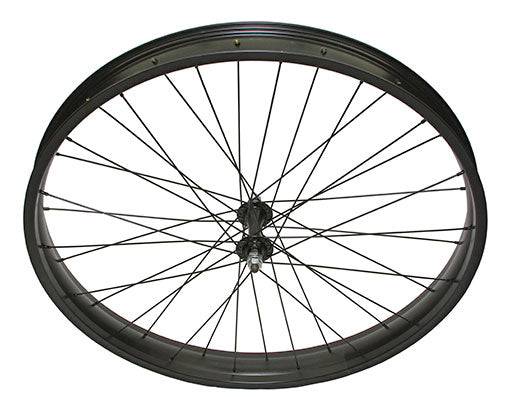 26 X 3.00 FAT ALLOY FRONT WHEEL 36 SPOKE 14GBLACK 3/8 AXLE SINGLE WALL BLACK