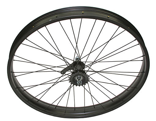 26 X 3.00 FAT ALLOY COASTER WHEEL 36 SPOKE 14GBLACK 3/8 AXLE SINGLE WALL BLACK, CHROME SPROCKET HUB