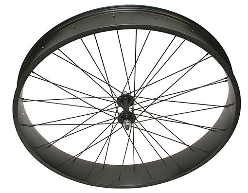 26 X 4.00 FAT ALLOY FRONT WHEEL 36 SPOKE 14GBLACK 3/8 AXLE SINGLE WALL BLACK