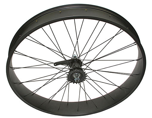 26 X 4.00 FAT ALLOY COASTER WHEEL 36 SPOKE 14GBLACK 3/8 AXLE SINGLE WALL BLACK, CHROME SPROCKET HUB