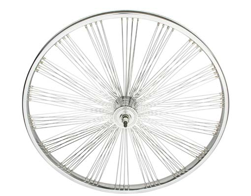 26 FAN STEEL FRONT WHEEL 144 SPOKE 14G UCP 3/8 AXLE SINGLE WALL CHROME