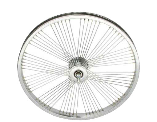 "20"" FAN STEEL FRONT WHEEL 72 SPOKE 14G UCP 3/8 AXLE SINGLE WALL CHROME"