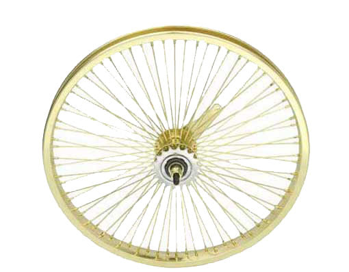 "20"" STEEL COASTER WHEEL 72 SPOKE 14G UCP 3/8 AXLE SINGLE WALL GOLD"