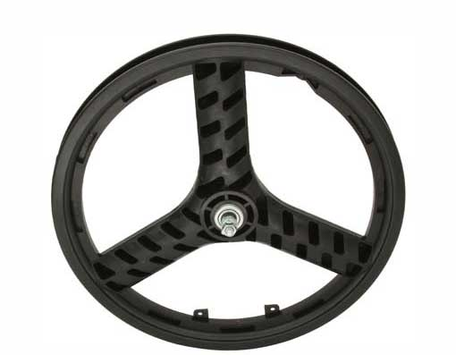 "20"" PLASTIC 3-SPOKE FRONT WHEEL 3/8 AXLE BLACK"