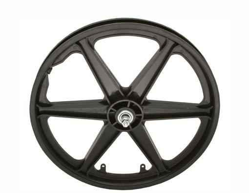 "20"" PLASTIC 6-SPOKE FRONT WHEEL 3/8 AXLE BLACK."