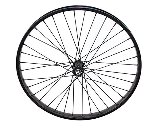 26 X 2.125 STEEL FRONT WHEEL 36 SPOKE 12GBLACK 3/8 AXLE SINGLE WALL BLACK