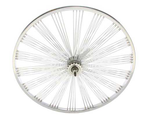26 FAN STEEL COASTER WHEEL 144 SPOKE 14G UCP 3/8 AXLE SINGLE WALL CHROME