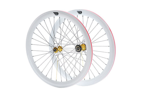 Pure Fix White & Gold 50mm Wheelset