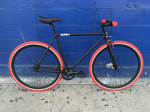 ALFA Fixed Gear Bike Omega 2.0 Build BY Mr. Bikes -Black & Red