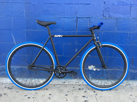 ALFA Fixed Gear Bike Omega 2.0 Build BY Mr. Bikes -Black & Blue