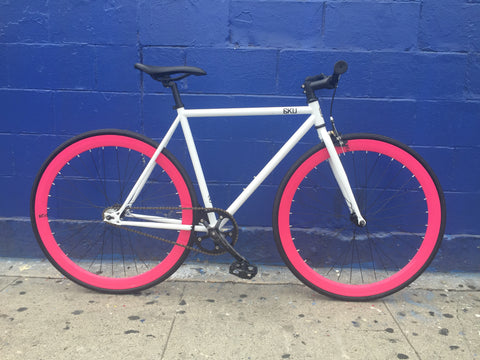 6KU Evian w/ Magenta Single-Speed Fixed Gear Bike by Mr Bikes