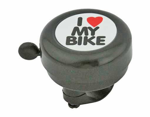 Black I Love My Bike Bell
