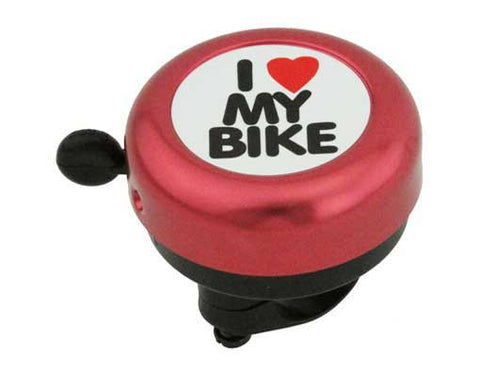 Red I Love My Bike Bell