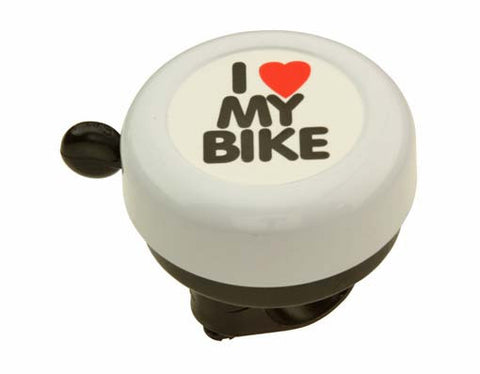 White I Love My Bike Bell