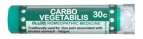 Ollois Carbo Vegetabilis 30C Lactose Free Homeopathic 80ct for Gas Pain Stomach