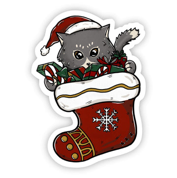 Pre- Order - Cat in Stocking Sticker - Galaxy Paw