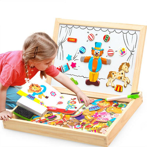 Educational Magnetic Box - (100+PCS Wooden Magnetic Puzzle)