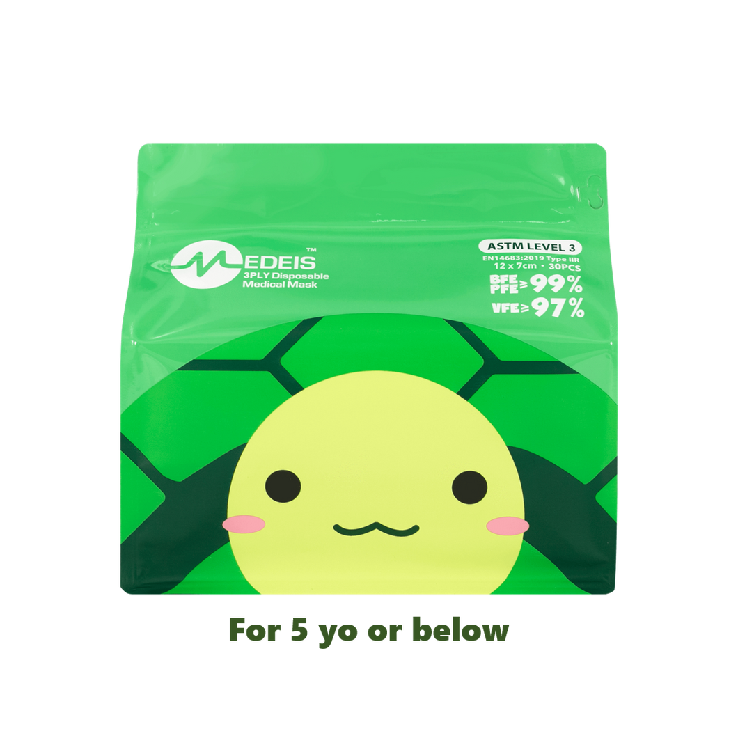 TURTLE GREEN<br>6 color earloops<br>12cm Length / For 5 yo or below | 30pcs per bag