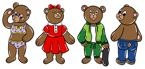 Different Kinds of Clothing on Bears