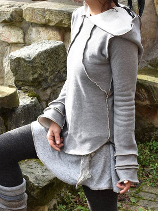 Women's vintage cotton and cashmere rolled hoodie