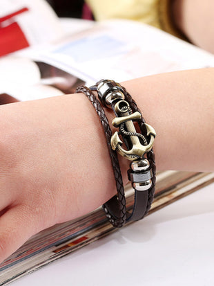 Women's Vintage Alloy Anchor Woven Cowhide Bracelet