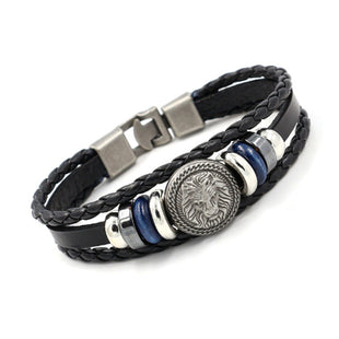 Men's Vintage Lion Head Studded Leather Bracelet