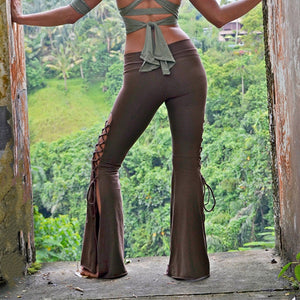 Boho Lace Up Comfy Stretchy Bell Bottom Pants
