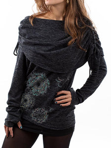 Women's Casual Dandelion Printed Long-Sleeved Top