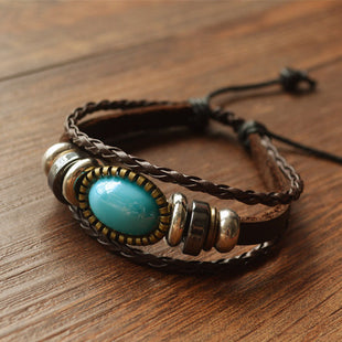 Vintage style woven multi-layer cowhide rope bracelet