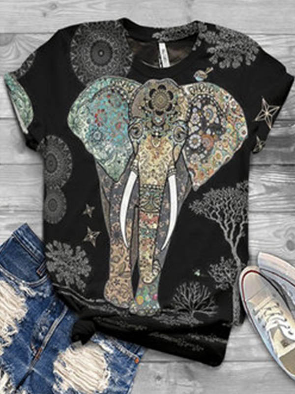 Ladies Fashion Street Outfit Elephant Printed Short Sleeve T-shirt
