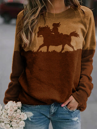 Western Style Woman And Horse Silhouette Casual Sweatshirt
