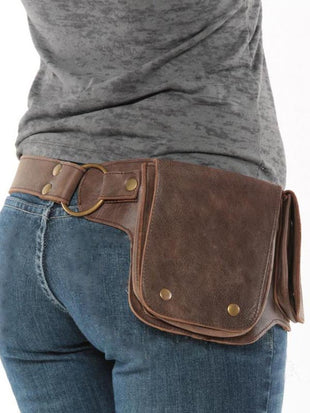 Women's Vintage Leather Adjustable Belt Multifunction Waist Bag