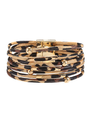 Women's leopard alloy leather bracelet