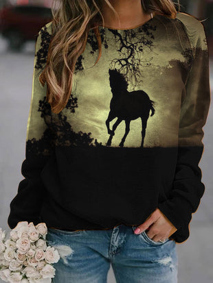 Horse printed crew neck casual sweatshirt